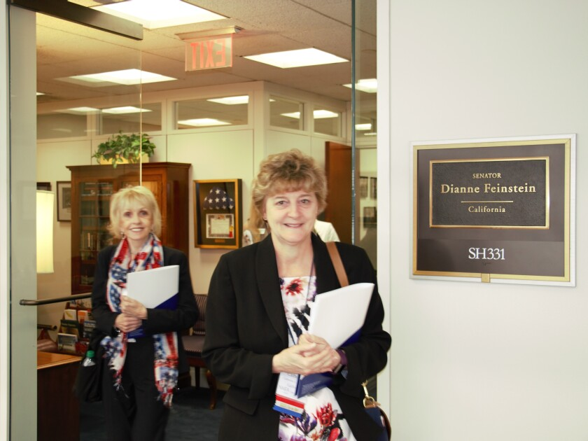 "Members of the NAEA visiting the offices of California Senator Dianne Feinstein during the 2018 ""Fly-In."""
