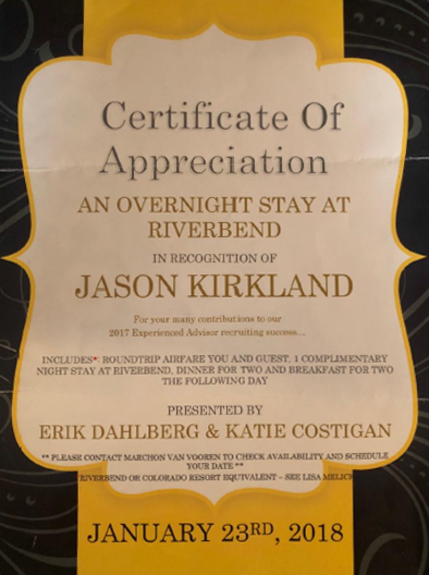 Certificate of Appreaciation - Jason Kirkland - Baird - Oct 10, 2018
