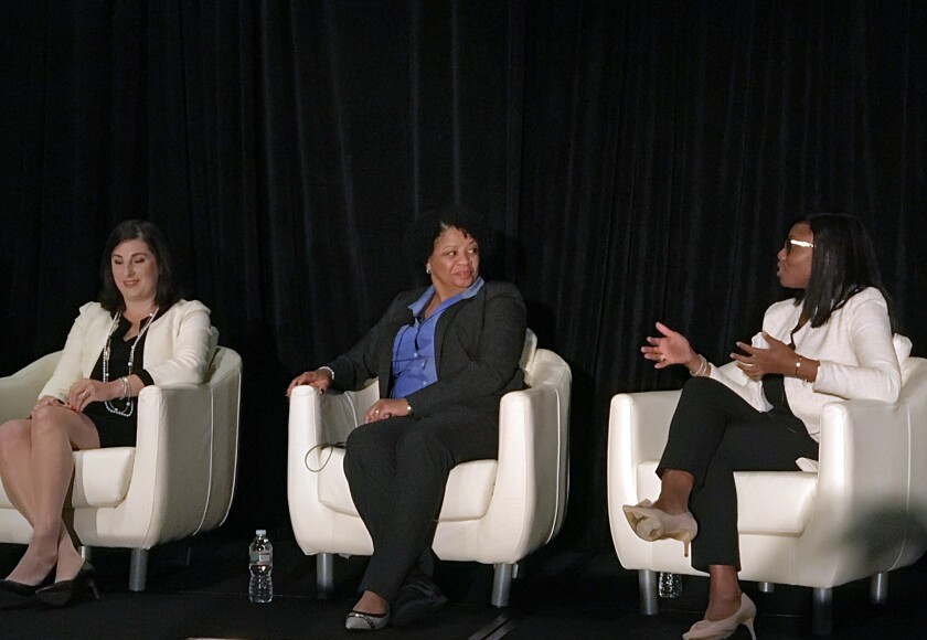 Vanguard's Katherine Martini Miles, Northern Trust's Sonia Davis and JP Morgan's Yabu Sesay (l. to r.) discuss the challenges of human capital management in asset management at NICSA's 2017 general membership meeting in Boston.