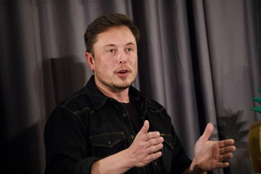 Elon Musk, co-founder and chief executive officer of Tesla Inc., speaks during a Boring Co. event in Los Angeles.