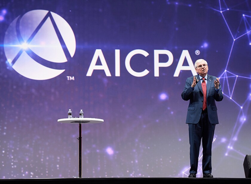 AICPA CEO and president Barry Melancon addressing the 2018 Engage event