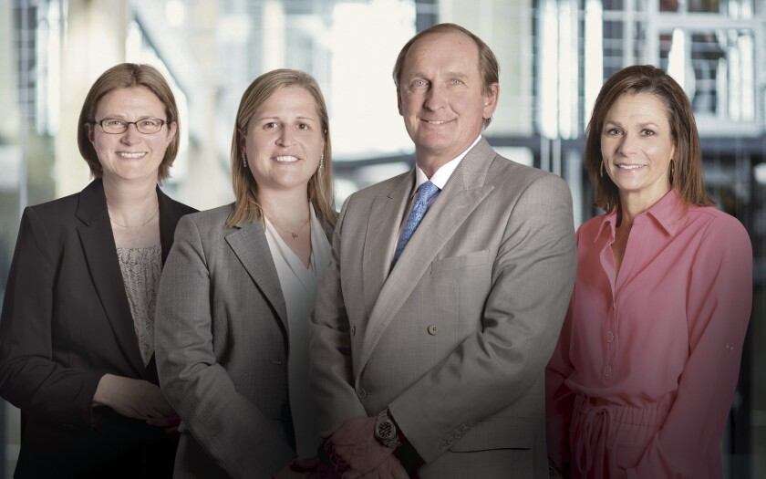 From left, Christina Williams, Client Associate; Victoria Greene, CFA®, CRPC®, Founding Partner and Portfolio Manager; George Georgiades, CIMA®, Founding Partner and Managing Director; Janet Syptak, Senior Client Associate