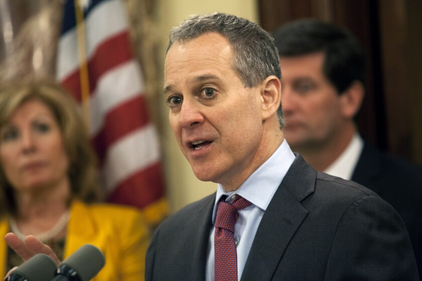Eric Schneiderman, attorney general for New York, news conference in Buffalo, June 4, 2013 Bloomberg News
