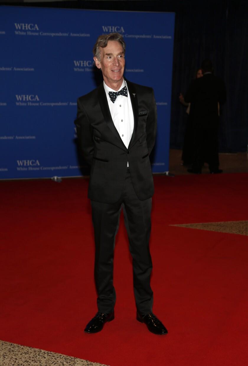 Bill Nye arrives on the red carpet for the 2016 White House Correspondents' Association Dinner