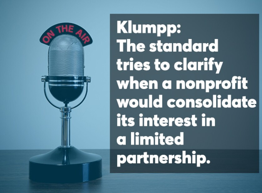 Opening screen for Lee Klumpp podcast  on nonprofit accounting standards