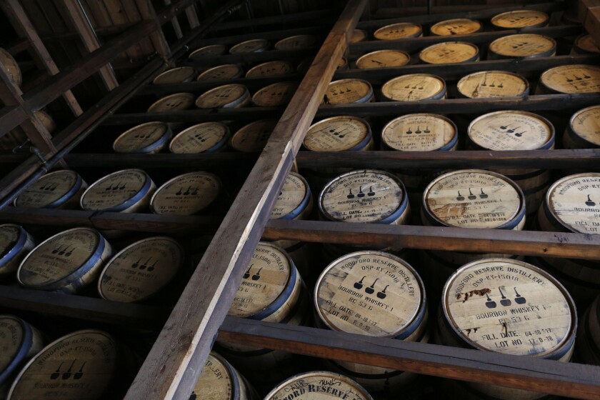 Barrels of bourbon whiskey sit in an aging warehouse at the Brown-Forman Corp. Woodford Reserve distillery in Versailles, Kentucky