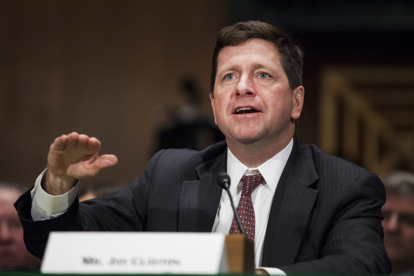 Jay Clayton, SEC chair nominee for Trump, testifies during a Senate Banking Committee confirmation hearing Bloomberg News