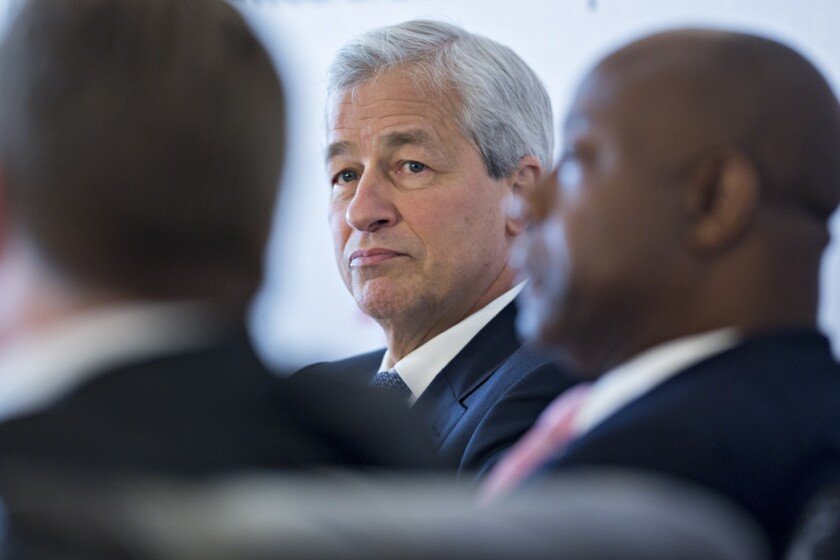 Jamie Dimon, CEO of JPMorgan Chase & Co., listens during a Business Roundtable panel in Washington, D.C.