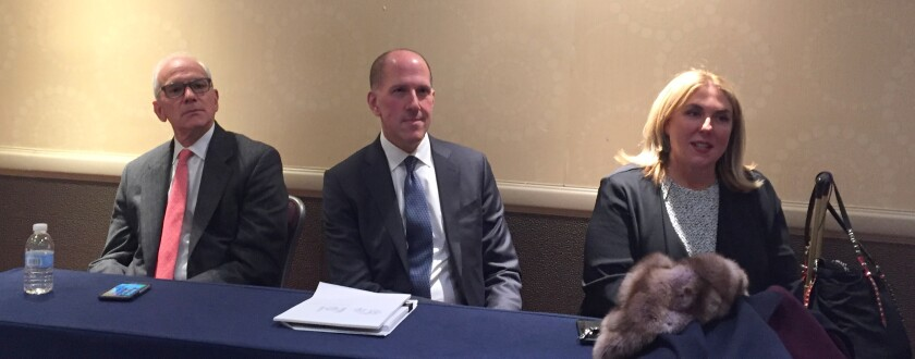 (left to right) PCAOB members James Kaiser and Duane DesParte and CAQ executive director Cindy Fornelli