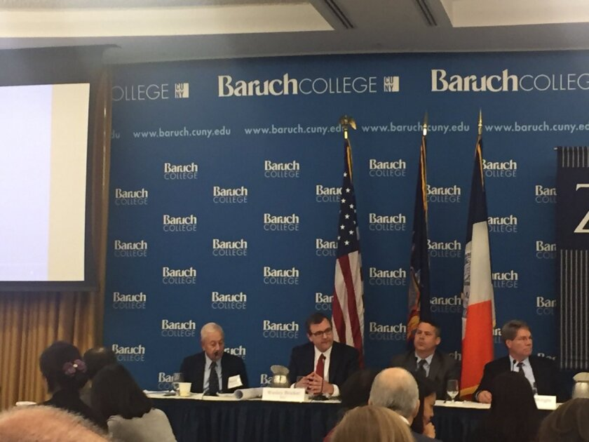 Panelists at the Baruch College Financial Reporting Conference  (left to right): Baruch professor Norman Strauss, SEC chief accountant Wesley Bricker, SEC Division of Corporation Finance chief accountant Kyle Moffatt, and SEC Division of Enforcement senior legal advisor Charles Wright