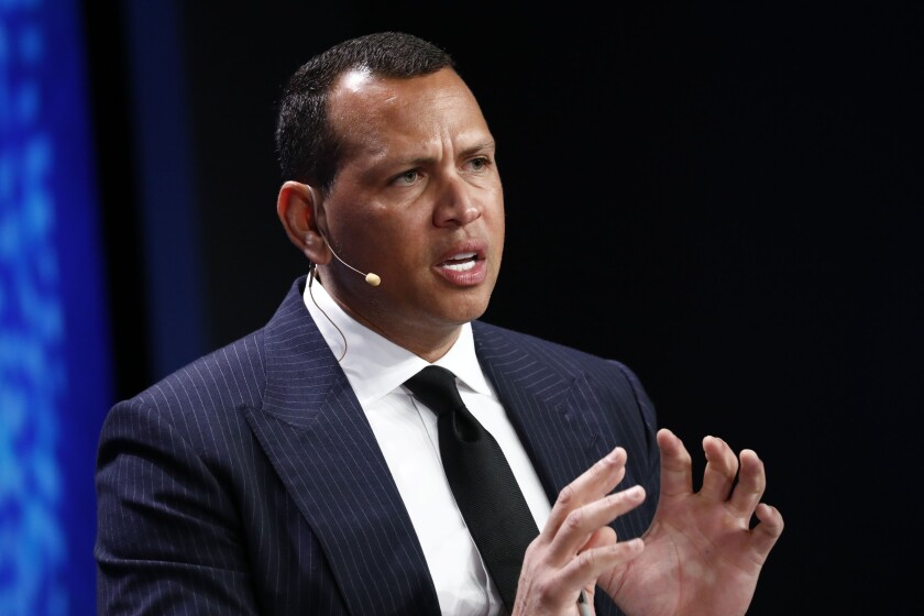 Alex Rodriguez, former professional baseball player, speaks during the Milken Institute Global Conference in Beverly Hills, California, U.S., on Tuesday, April 30, 2019. The conference brings together leaders in business, government, technology, philanthropy, academia, and the media to discuss actionable and collaborative solutions to some of the most important questions of our time. Photographer: Patrick T. Fallon/Bloomberg