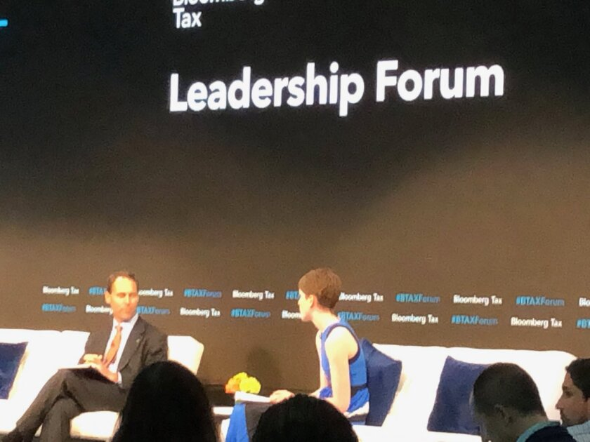 IRS Chief Counsel Michael Desmond (left) talking with Bloomberg Tax senior news editor Colleen Murphy at Bloomberg Tax Leadership Forum