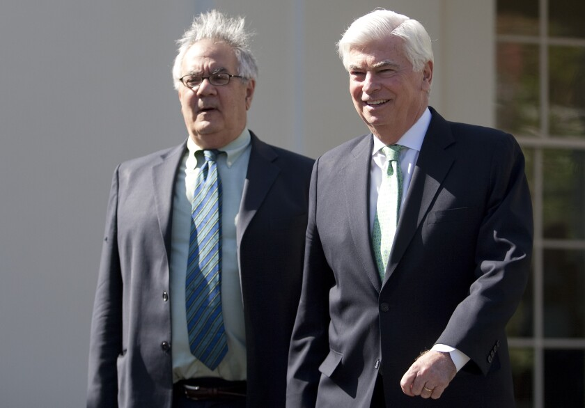 Former Rep. Barney Frank, D-Mass., and former Sen. Chris Dodd, D-Conn., before passage of the Dodd-Frank Act of 2010