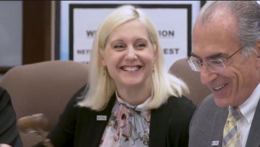 New Jersey Socirty of CPAs president Sarah Krom (left) is succeeding Ed Guttenplan (right)
