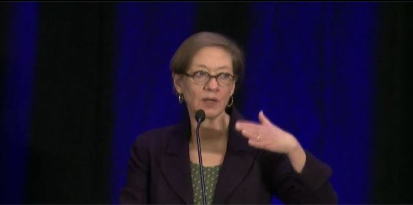 National Taxpayer Advocate Nina Olson speaking at the AICPA National Tax Conference