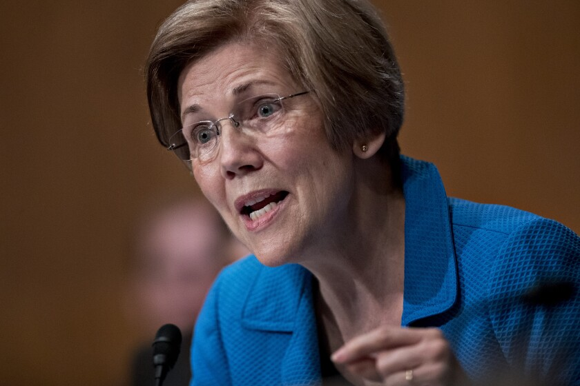 Democrat Senator Elizabeth Warren, questions Janet Yellen, chair of the U.S. Federal Reserve, not pictured, during a Senate Banking Committee hearing in Washington, D.C., on Thursday, July 13, 2017