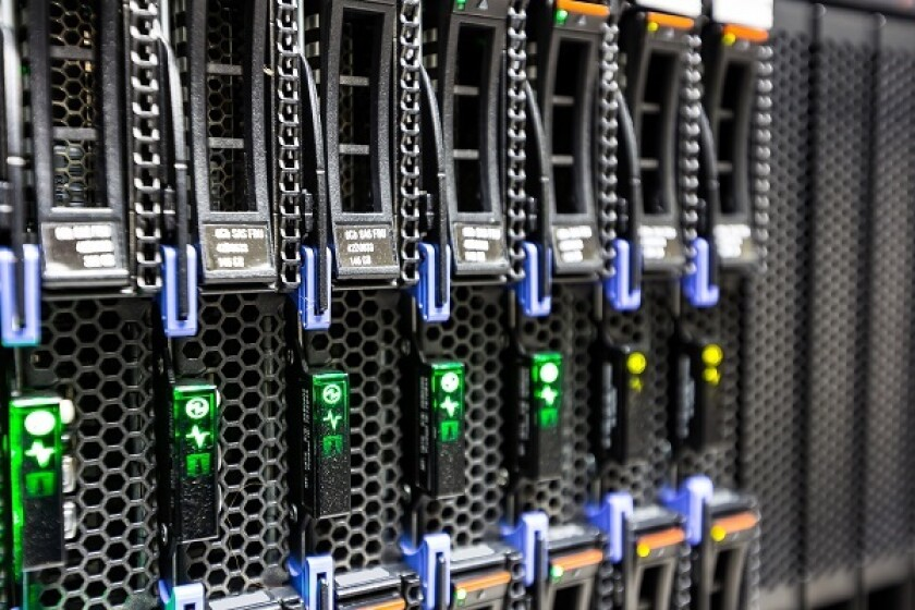 Computer Server mount on rack in data center room