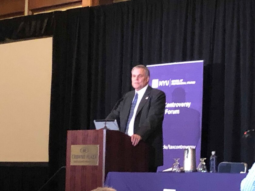 IRS Commissioner Chuck Rettig speaking at the NYU Tax Controversy Forum