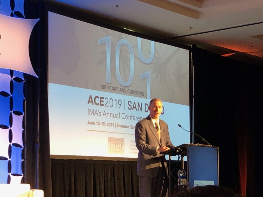 FASB chairman Russell Golden speaking at the IMA Annual Conference and Expo in San Diego