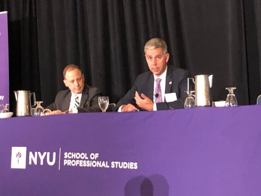 IRS Criminal Investigation Chief Don Fort (right) being interviewed by Jeremy H. Temkin (left), a principal at Morvillo Abramowitz Grand Iason & Anello, at the NYU Tax Controversy Forum