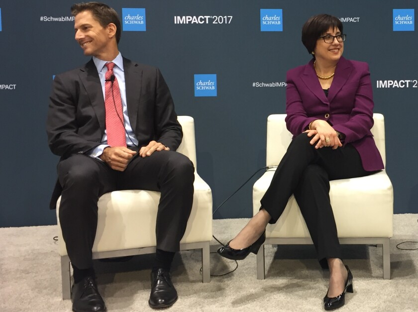 Schwab Investment Management head of strategy and product Jonathan de St. Paer and CEO Maria Chandoha discuss M&A trends at the annual Schwab Impact conference.