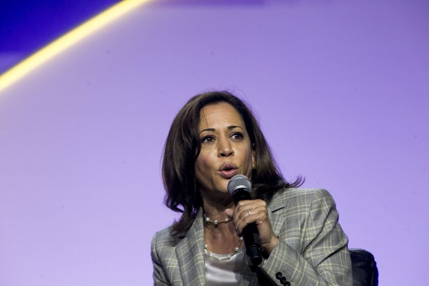 Senator Kamala Harris, a Democrat from California and 2020 presidential candidate, speaks during a Presidential Candidate Forum at the 110th NAACP Annual Convention in Detroit.