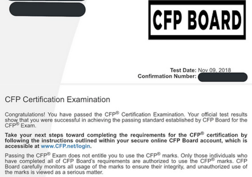 CFP Board exam screw up letter 12 11 18