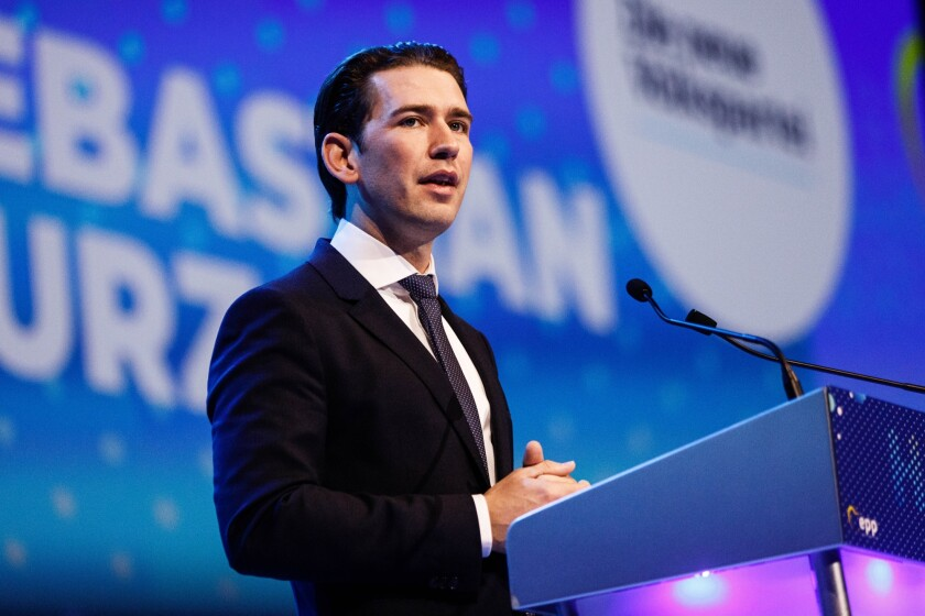 Sebastian Kurz, Austria's chancellor, delivers a speech during the European People's Party congress in Helsinki, Finland.