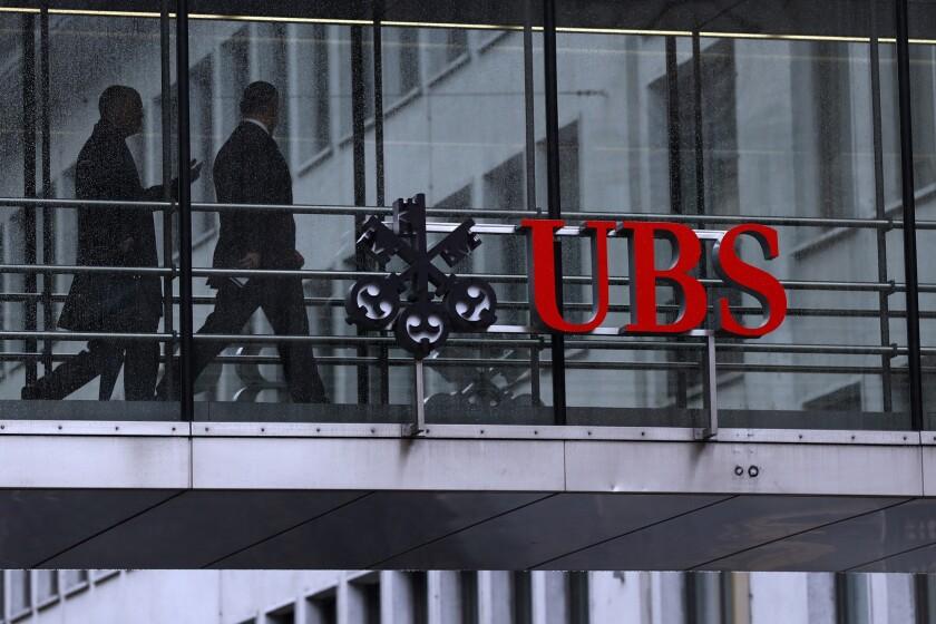 Swiss bank UBS logo and figures