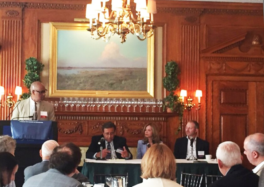 Former NYSSCPA president J. Michael  Kirkland (l) moderated a panel of managing partners at the Accountants Club of America meeting with (left to right) Bart Raffaele of Gruber Palumberi Raffaele Fried, Patricia Cummings of Citrin Cooperman, and Mark Goodman of Janover.
