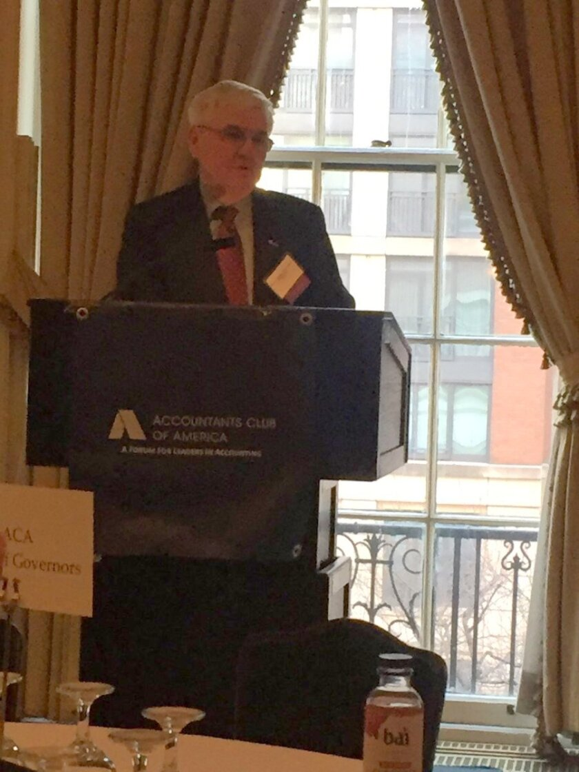 AICPA president and CEO Barry Melancon speaking at the Accountants Club of America