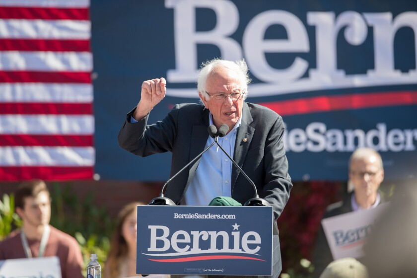 PLYMOUTH, NH - SEPTEMBER 29: Democratic presidential candidate, Sen. Bernie Sanders (I-VT) speaks at a campaign event at Plymouth State University on September 29, 2019 in Plymouth, New Hampshire. (Photo by Scott Eisen/Getty Images)