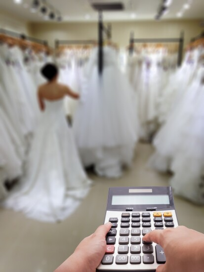 Bride and calculator