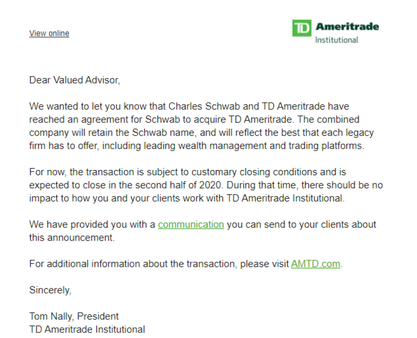 TD Ameritrade letter about acquisition
