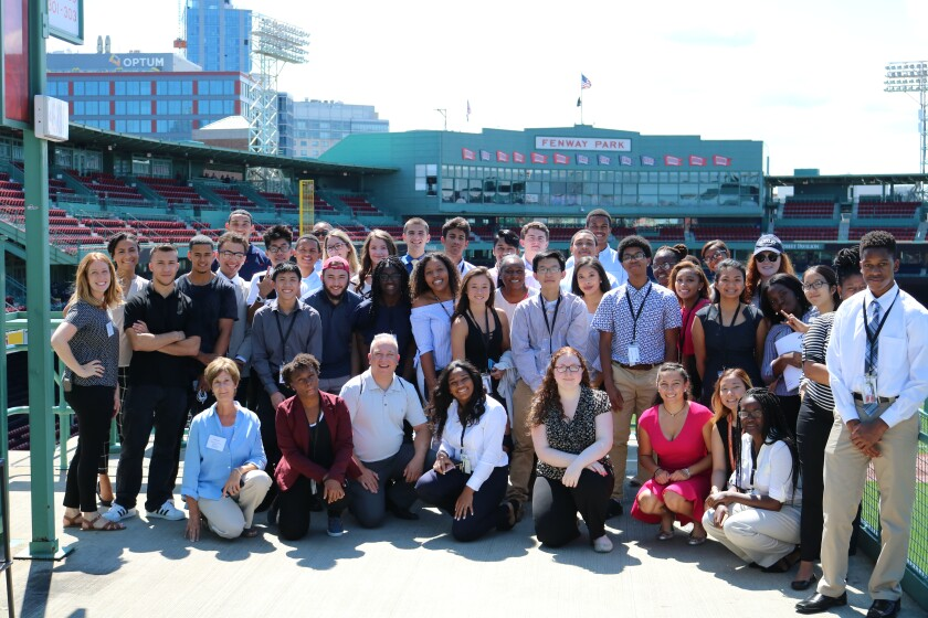Participants in the MassCPA CAMP program on an outing to Fenway Park