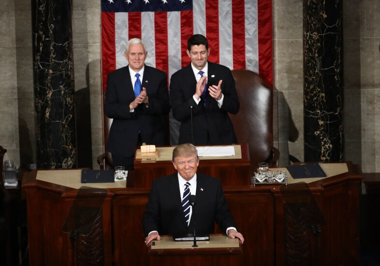 President Donald Trump with Vice President Mike Pence and House Speaker Paul Ryan at address to joint session of Congress