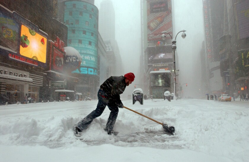 Snowstorm in Times Square