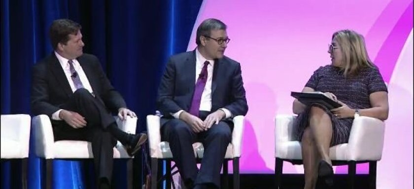 (left to right) SEC chairman Jay Clayton, SEC chief accountant Wesley Bricker and CAQ executive director Cindy Fornelli at the AICPA Conference on Current SEC and PCAOB Developments
