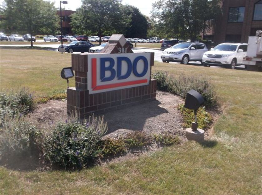 A sign outside BDO's offices in Akron, Ohio