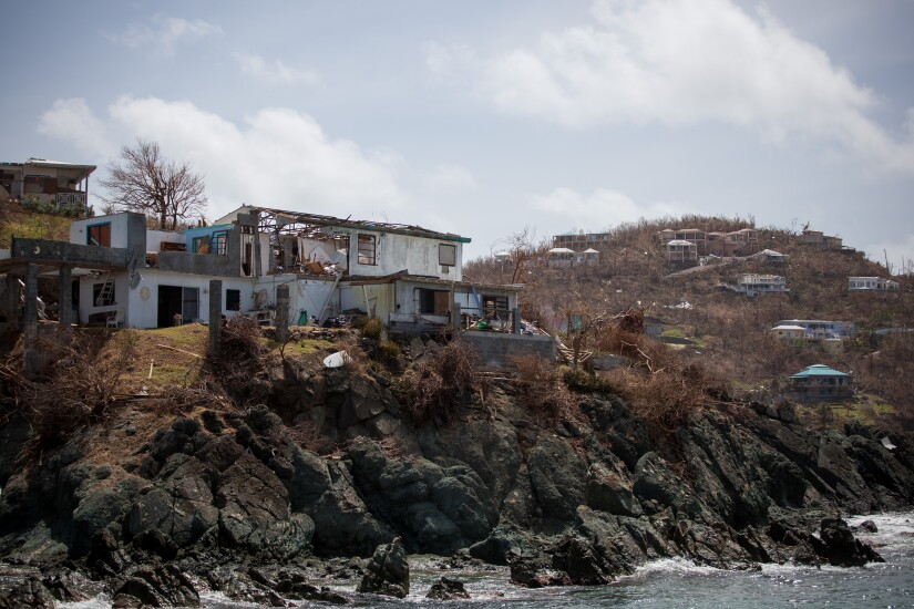 A damaged building is seen after Hurricane Irma hit St. John in the U.S. Virgin Islands.