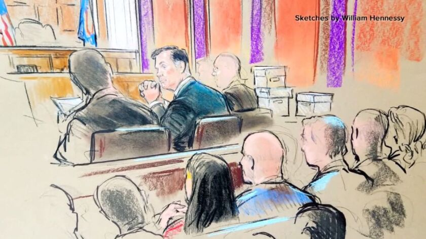 A courtroom sketch of the Paul Manafort trial