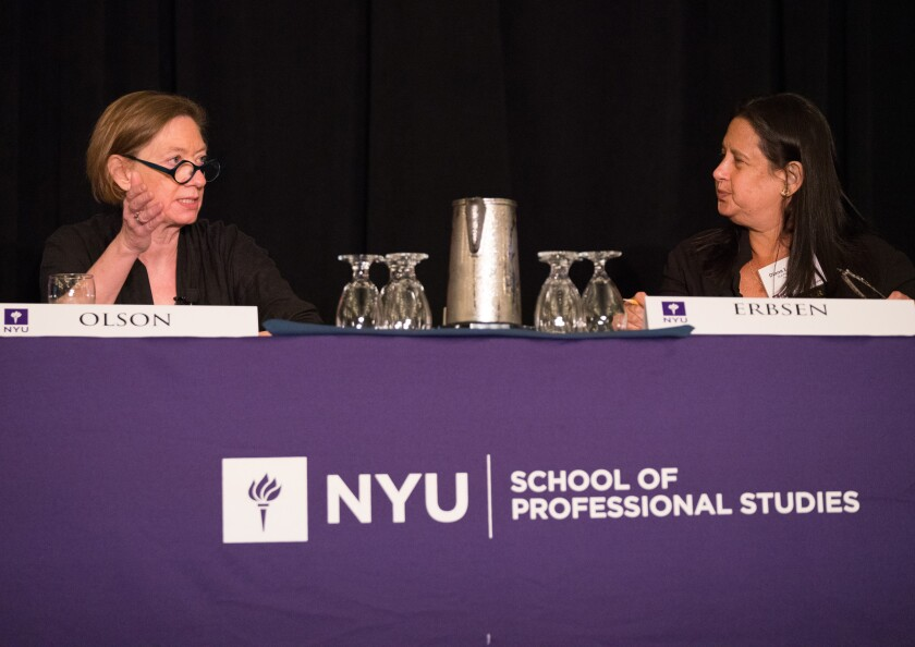 National Taxpayer Advocate Nina Olson (left) being interviewed by Diana Erbsen, a partner at DLA Piper, at the NYU Tax Controversy Forum