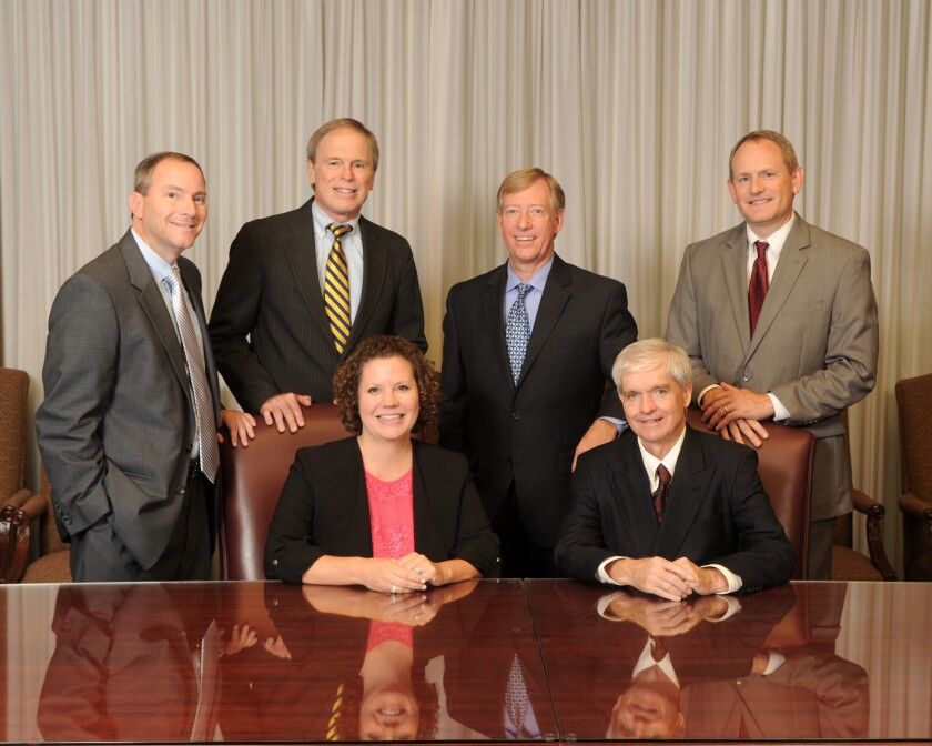 The partners of Derrick, Stubbs & Stith include (in the top row left to right) K. Todd Daily, Alan F. Grimsley, Charles R. Statler (managing partner), David L. Splittgerber, and (in the bottom row left to right) Michelle Z. Chapman and Timothy M. Monahan.