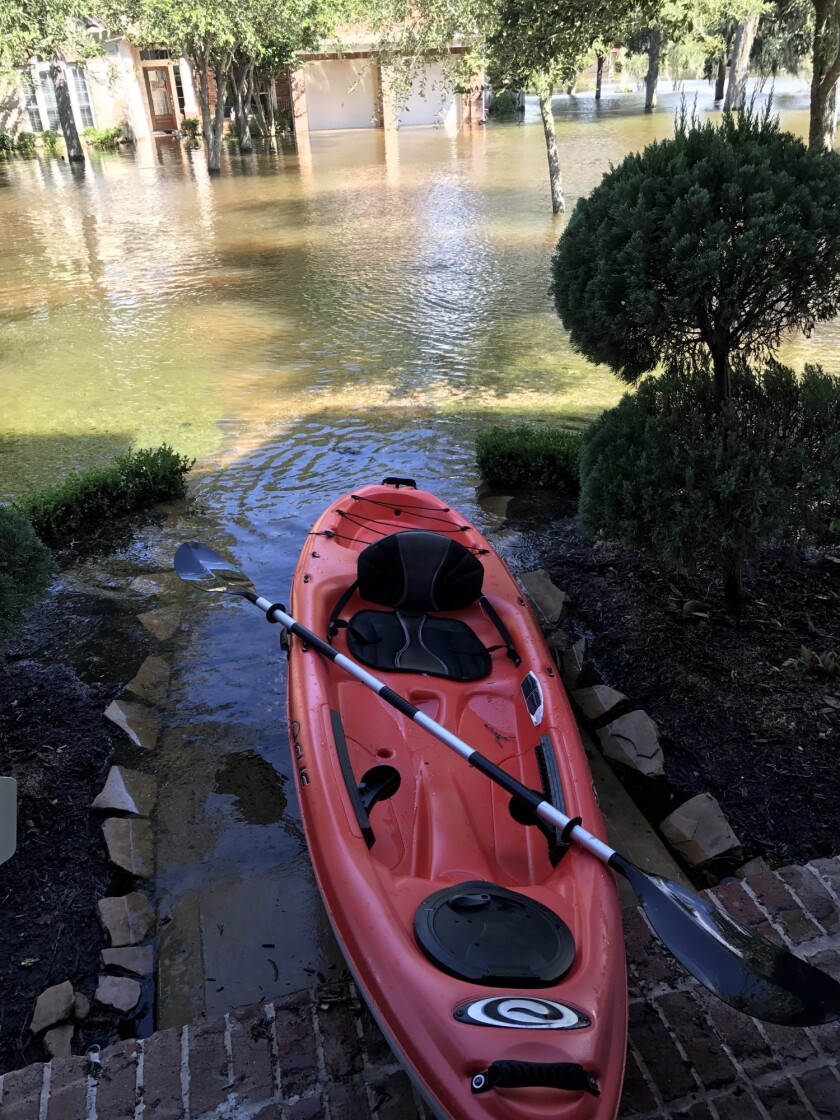 View from advisor Jonathan Swanburg's front door after Hurricane Harvey tore through Houston.