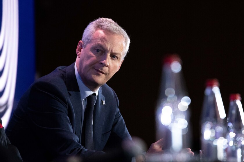 Bruno Le Maire, France's finance minister, looks on at an Organization for Economic Co-operation and Development (OECD) forum in Paris.