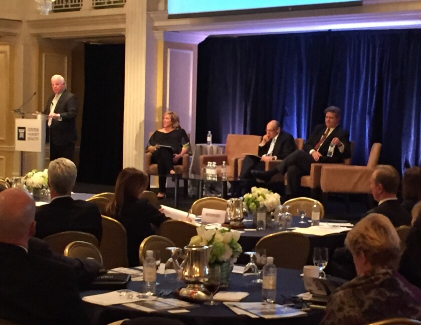 Former NACD CEO Ken Daly (left), CAQ executive director Cindy Fornelli, Grant Thornton International CEO Ed Nusbaum and former Ernst & Young CEO James Turley