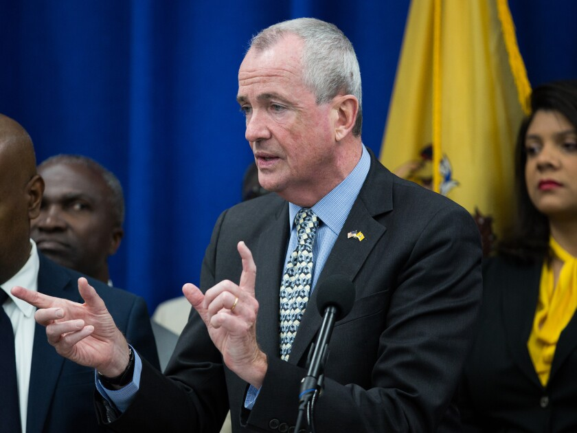 Phil Murphy, governor of New Jersey, speaks during a budget press conference in Newark.