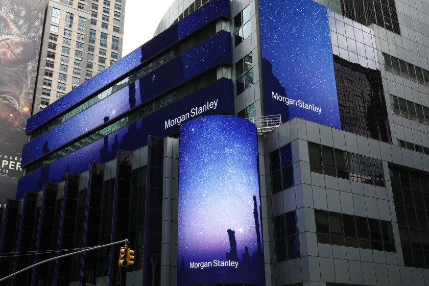 Morgan Stanley digital signage is displayed outside the company's headquarters in New York, U.S., on Thursday, July 12, 2018. Morgan Stanley is scheduled to release earnings figures on July 18. Photographer: Bess Adler/Bloomberg
