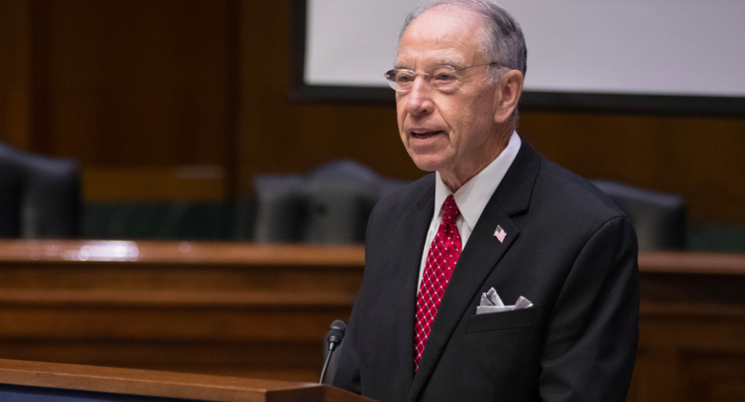 """Sen. Chuck Grassley (R-Iowa), speaking at a National Whistleblower Day event in Washington in July, says whistleblowers like financial advisor Johnny Burris should be """"protected and rewarded"""" for exposing wrongdoing."""