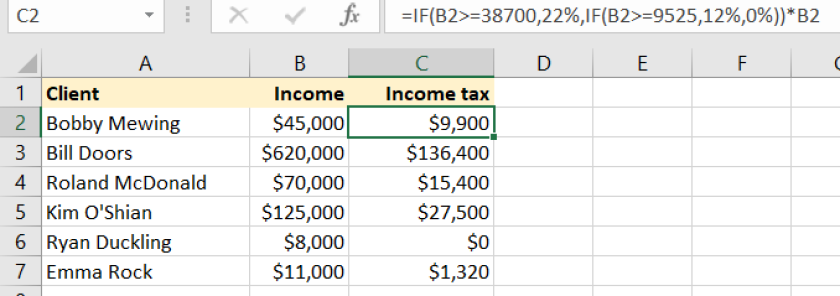 Microsoft Excel table